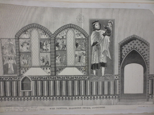 "www.headingtonheritage.org.uk Medieval Murals St Andrews - Woodcut drawing for ""The Builder"""