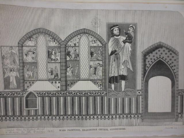 "www.headingtonheritage.org.uk Medieval Murals St Andrews - Woodcut drawing for ""The Builder"""