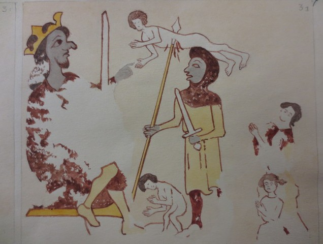 www.headingtonheritage.org.uk Medieval Murals St Andrews - Slaughter of the Innocents by Herbert Hurst - Copyright: The Bodleian Libraries, The University of Oxford. Shelfmark: M.S. Top. Oxon c.197 f.7r
