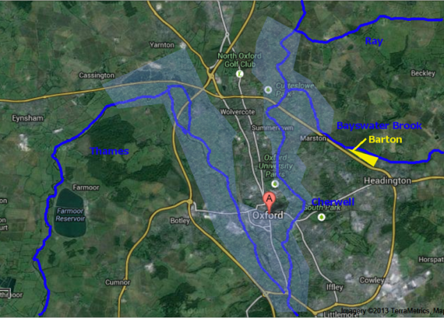 Oxford's Flood History - www.headingtonheritage.org.uk - approximate flood extents